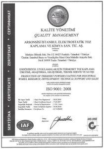 ISO 9001 2008 arsonsisi istanbul