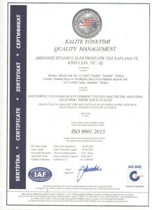 ISO 9001-2015 certificate for Arsonsisi istanbul