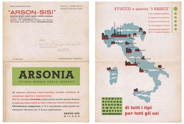 """1937 ARSON-SISI Industrie Riunite Vernici Smalti. """"ARSONIA""""paint flyer."""