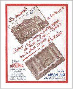 1933 - Leaflet of arsonia paint for teatro alla scala Milan.