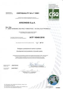 IATF 16949:2016 certification for arsonsisi powder coatings
