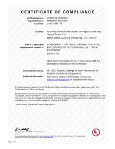 La certification UL de arsonsisi istanbul pour la serie t130