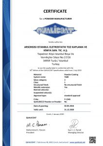 QUALICOAT Certificate for Arsonsisi powder coatings T600 series