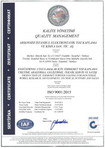 ISO 9001 2015 certificate for Arsonsisi Istanbul