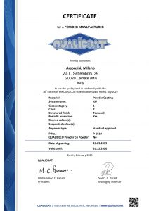 Qualicoat certificates for Arsonsisi powder coatings J57 series