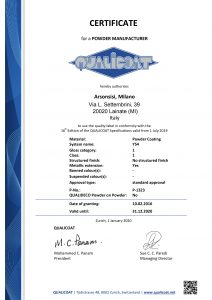 Qualicoat certificates for Arsonsisi powder coatings Y54 series