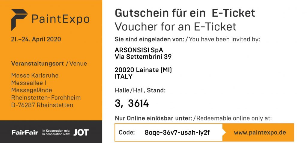 Paintexpo2020 free ticket Arsonsisi