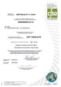 arsonsisi IATF 169492016 liquid coatings